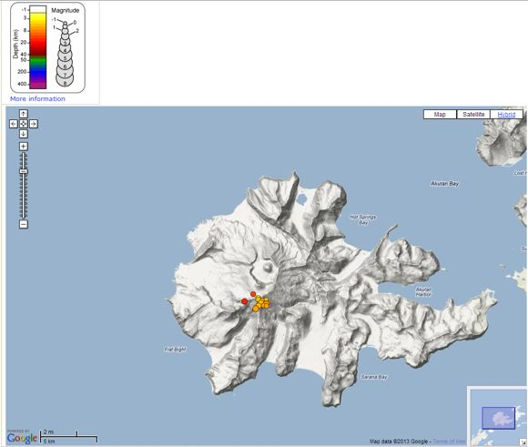 Cluster of recent quakes at Akutan Island (USGS)