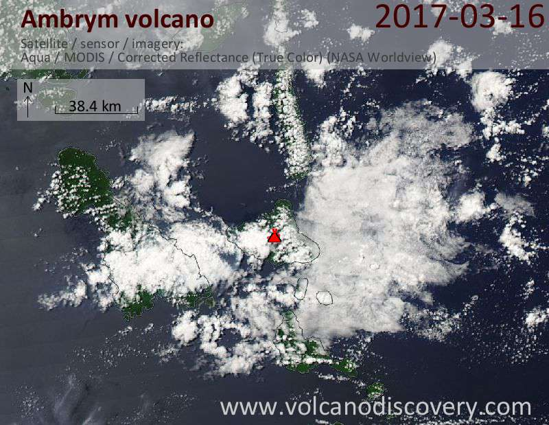Satellite image of Ambrym volcano on 16 Mar 2017