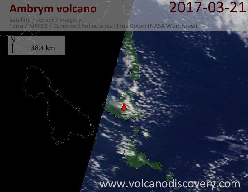 Satellite image of Ambrym volcano on 21 Mar 2017