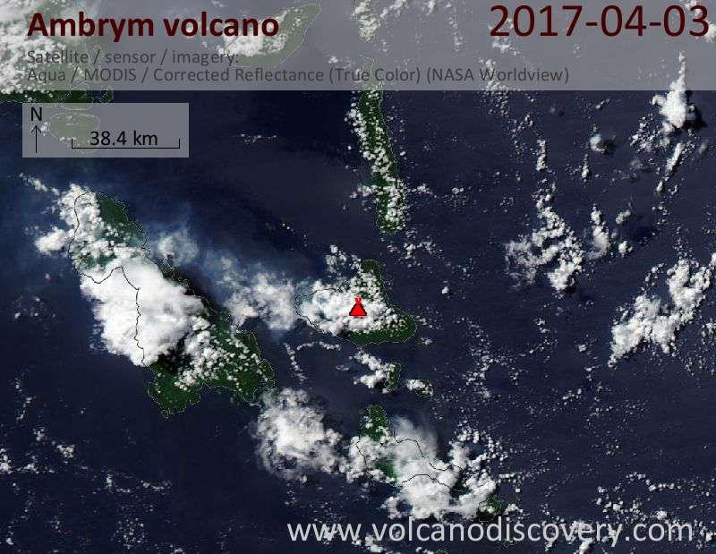Satellite image of Ambrym volcano on  3 Apr 2017