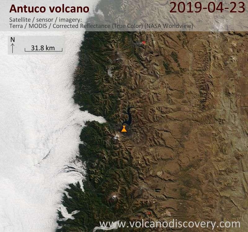 Satellite image of Antuco volcano on 23 Apr 2019