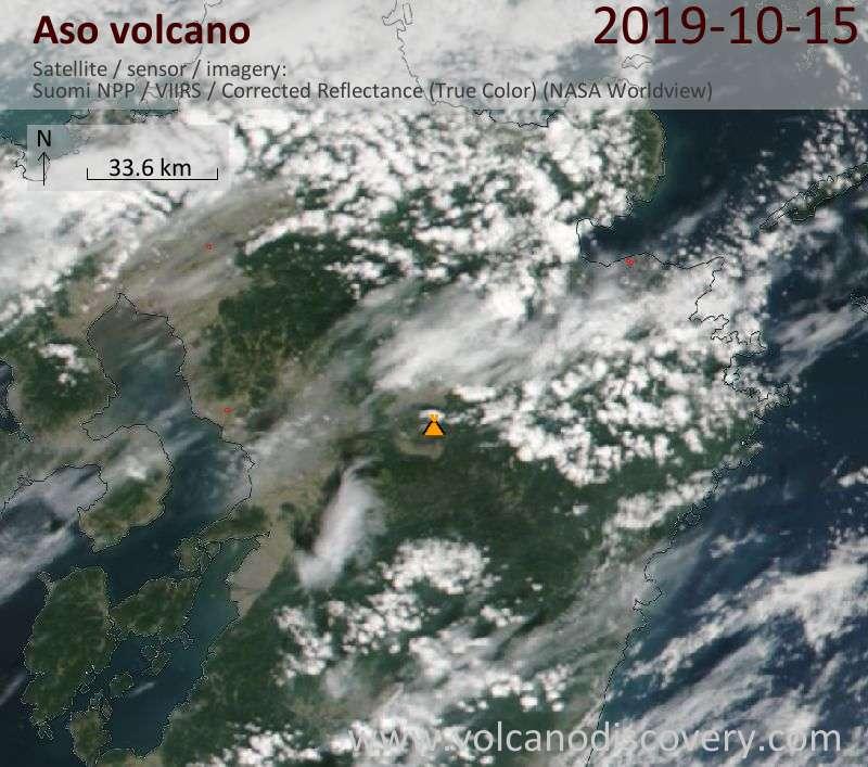 Satellite image of Aso volcano on 16 Oct 2019