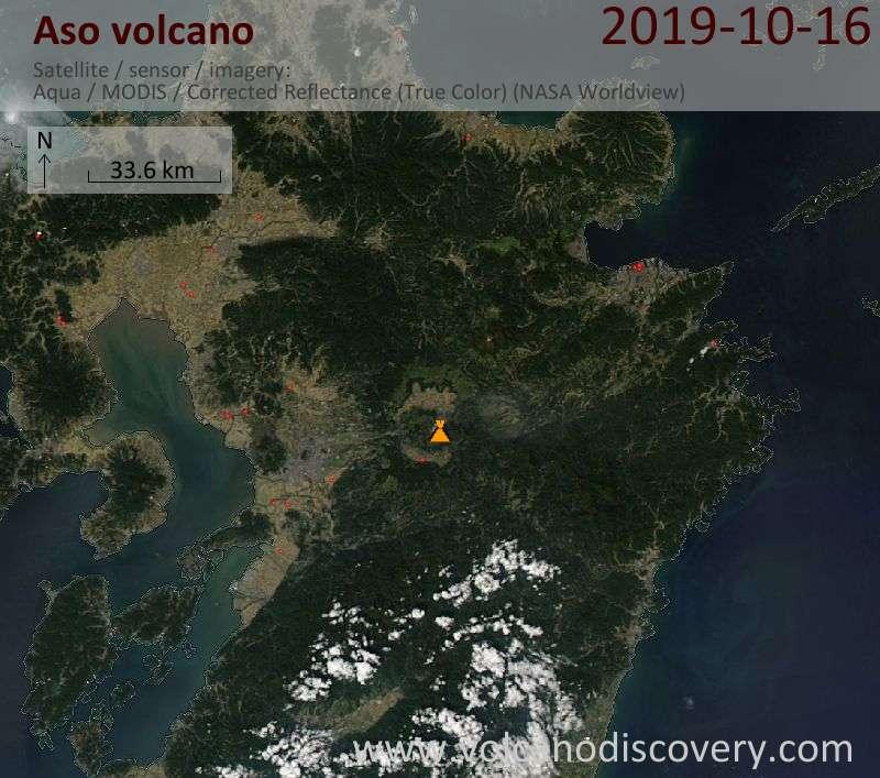 Satellite image of Aso volcano on 17 Oct 2019