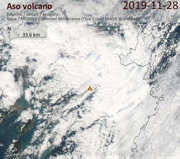 Satellite image of Aso volcano on 28 Nov 2019