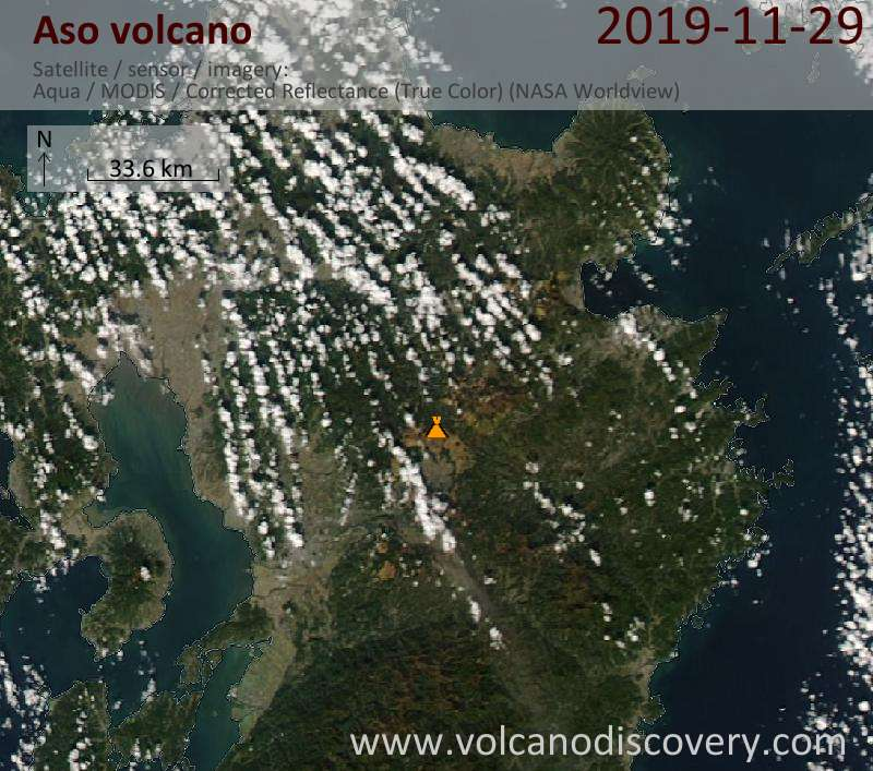 Satellite image of Aso volcano on 30 Nov 2019