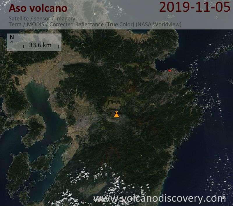 Satellite image of Aso volcano on  5 Nov 2019