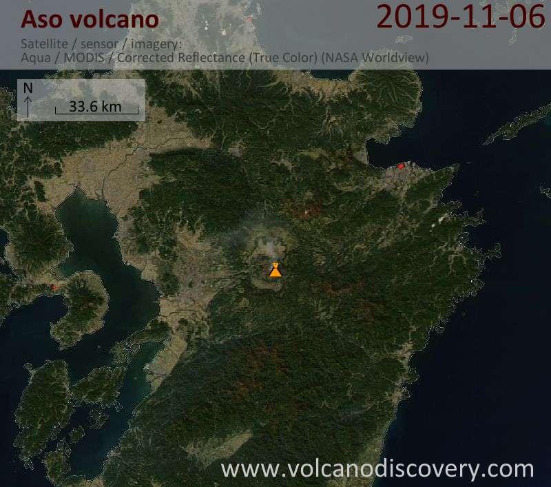 Satellite image of Aso volcano on  6 Nov 2019