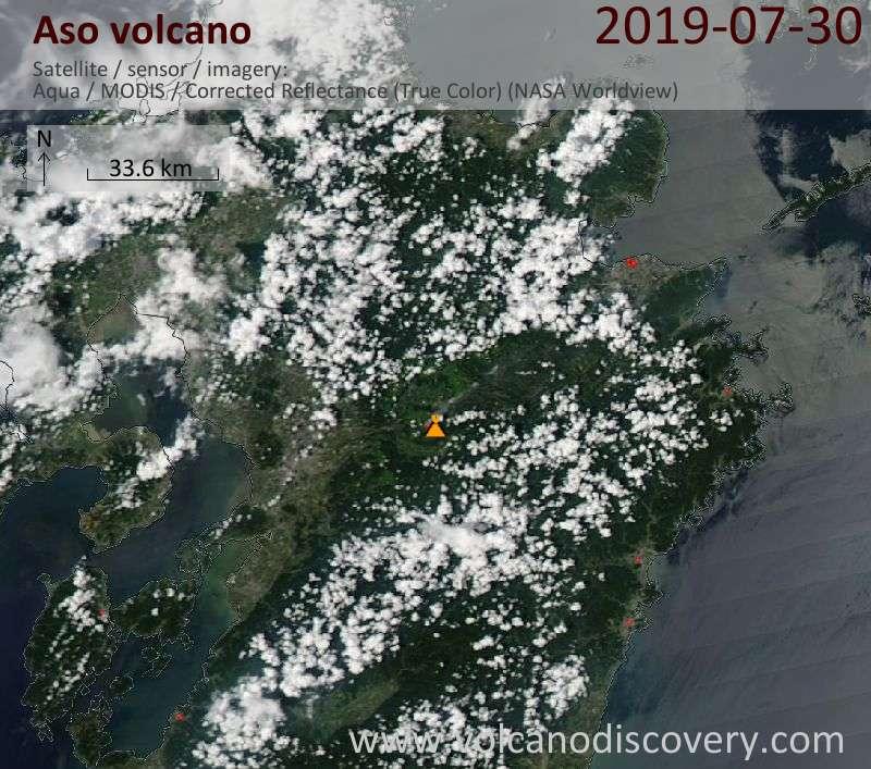 Satellite image of Aso volcano on 31 Jul 2019
