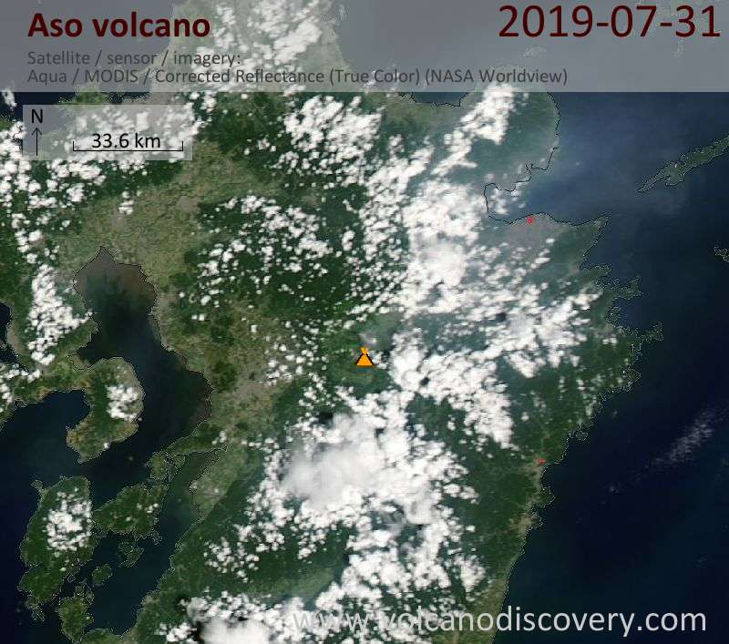 Satellite image of Aso volcano on  1 Aug 2019