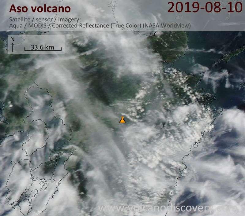 Satellite image of Aso volcano on 10 Aug 2019