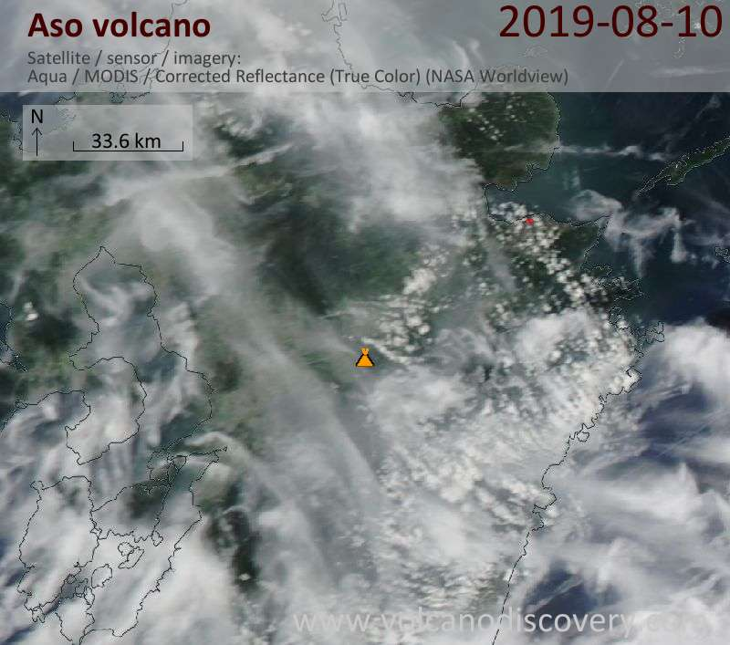 Satellite image of Aso volcano on 11 Aug 2019