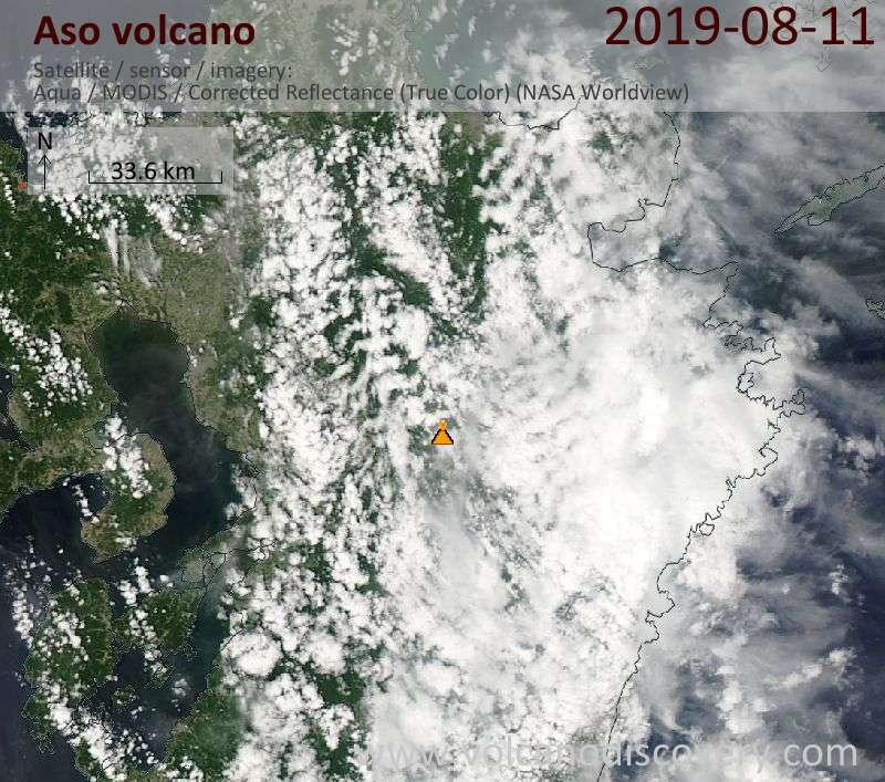 Спутниковое изображение вулкана Aso 12 Aug 2019