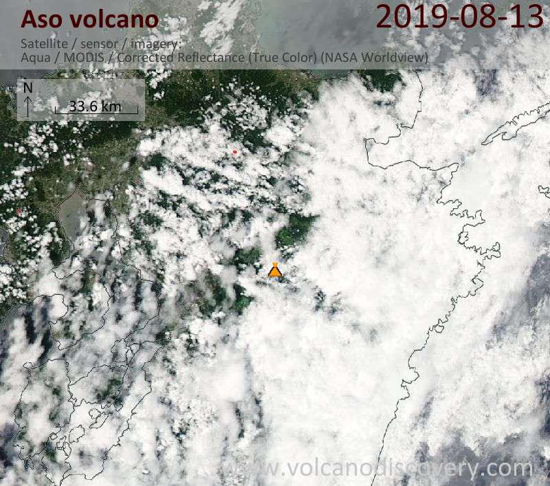 Спутниковое изображение вулкана Aso 13 Aug 2019