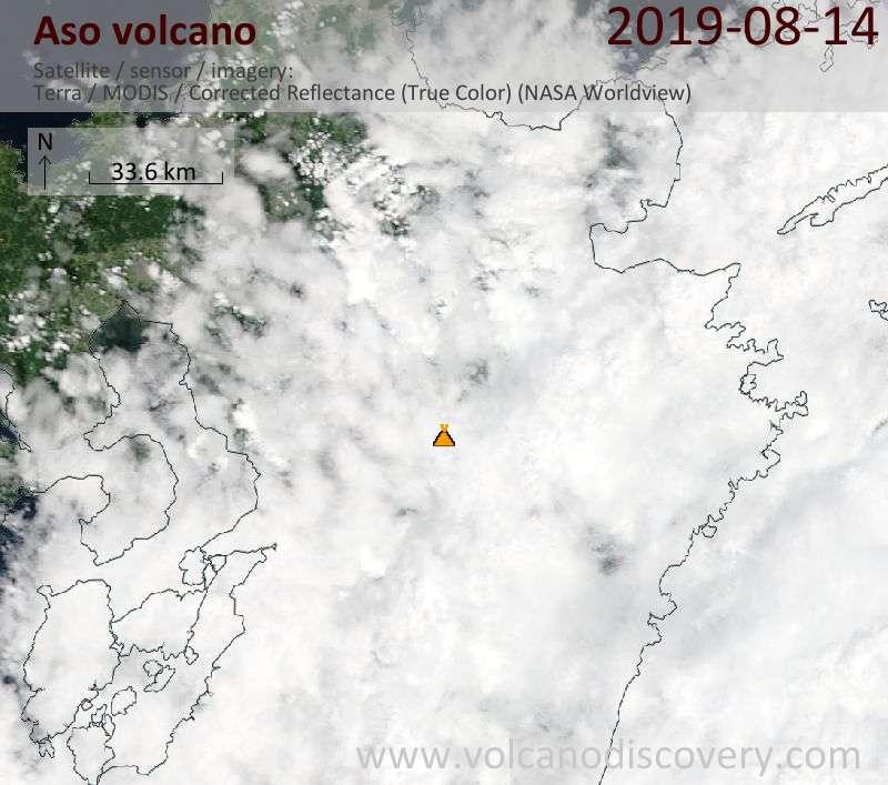 Спутниковое изображение вулкана Aso 14 Aug 2019