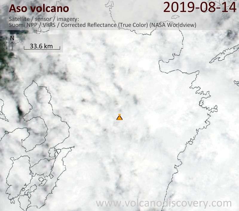 Спутниковое изображение вулкана Aso 15 Aug 2019