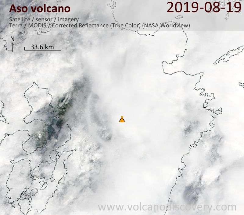 Satellite image of Aso volcano on 19 Aug 2019