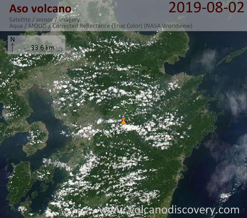 Satellite image of Aso volcano on  2 Aug 2019