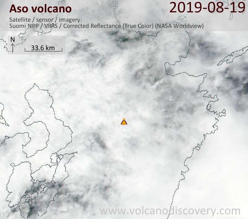 Satellite image of Aso volcano on 20 Aug 2019