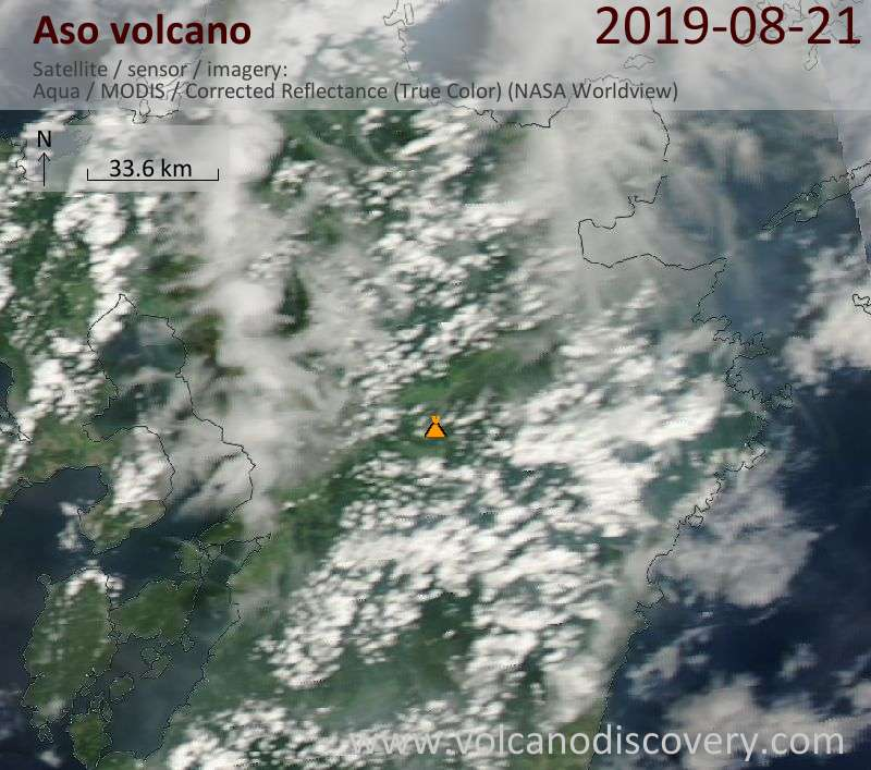 Спутниковое изображение вулкана Aso 21 Aug 2019
