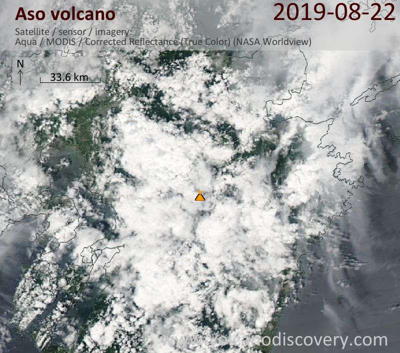 Satellitenbild des Aso Vulkans am 23 Aug 2019