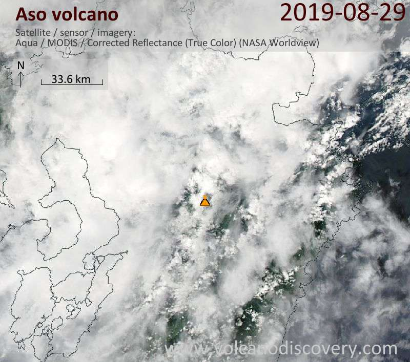 Satellitenbild des Aso Vulkans am 29 Aug 2019