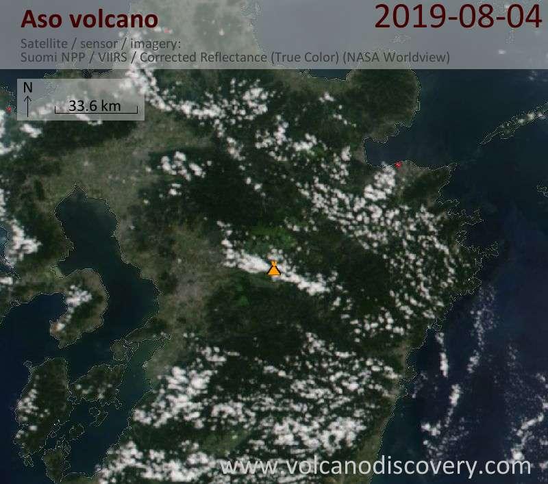 Satellite image of Aso volcano on  5 Aug 2019