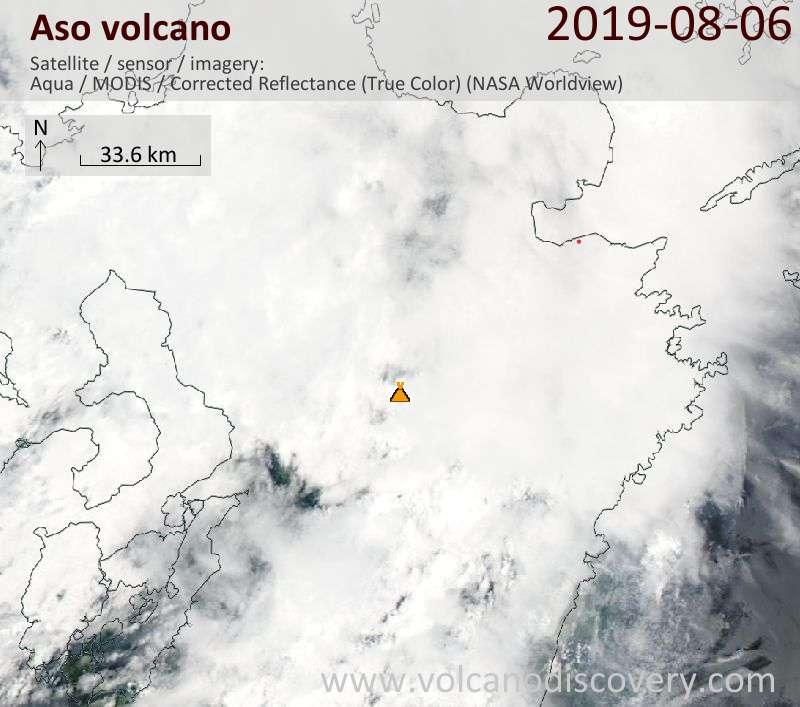 Satellitenbild des Aso Vulkans am  7 Aug 2019