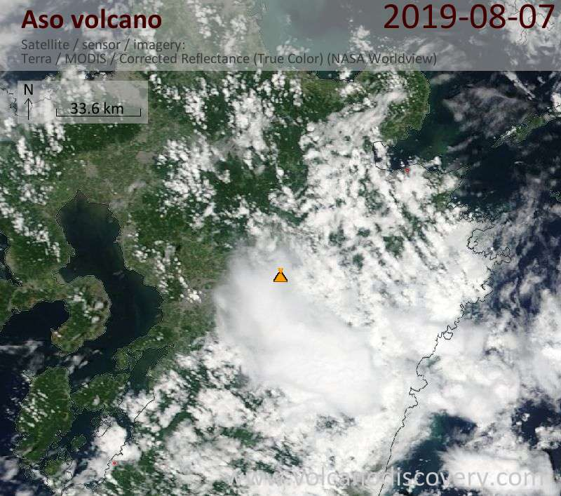 Satellitenbild des Aso Vulkans am  8 Aug 2019