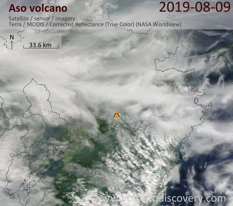 Satellitenbild des Aso Vulkans am  9 Aug 2019