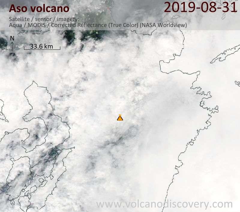 Satellite image of Aso volcano on  1 Sep 2019