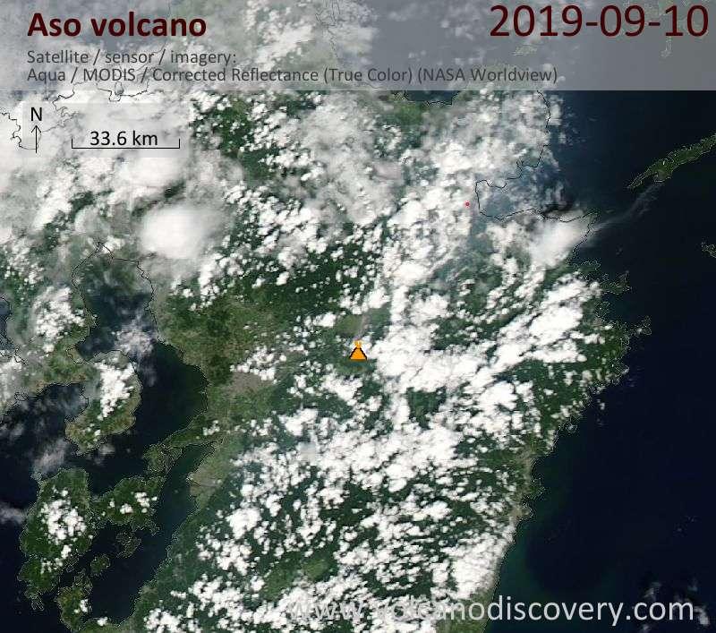 Satellitenbild des Aso Vulkans am 10 Sep 2019