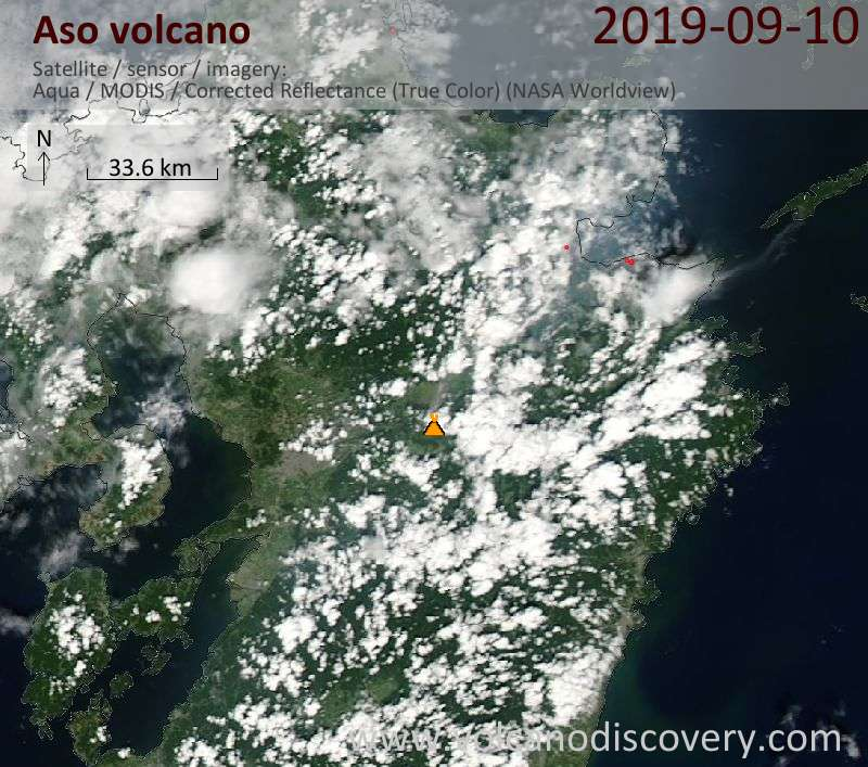 Satellitenbild des Aso Vulkans am 11 Sep 2019