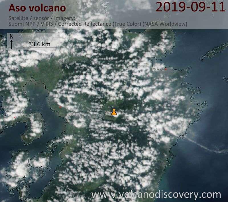 Satellitenbild des Aso Vulkans am 12 Sep 2019