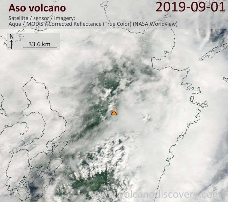 Satellite image of Aso volcano on  2 Sep 2019