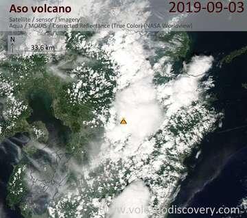 Satellite image of Aso volcano on  3 Sep 2019