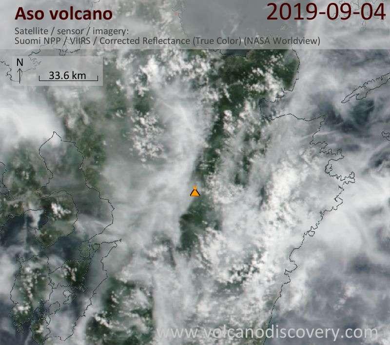 Satellite image of Aso volcano on  5 Sep 2019