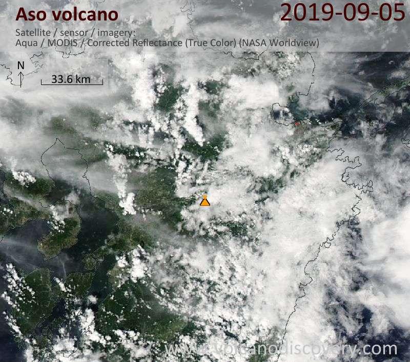Satellite image of Aso volcano on  6 Sep 2019