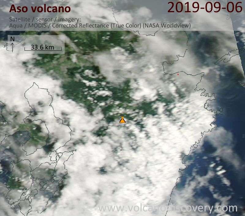 Satellite image of Aso volcano on  7 Sep 2019