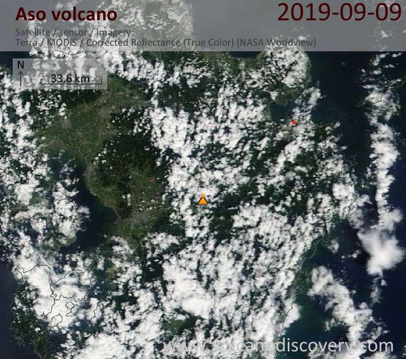 Satellitenbild des Aso Vulkans am  9 Sep 2019