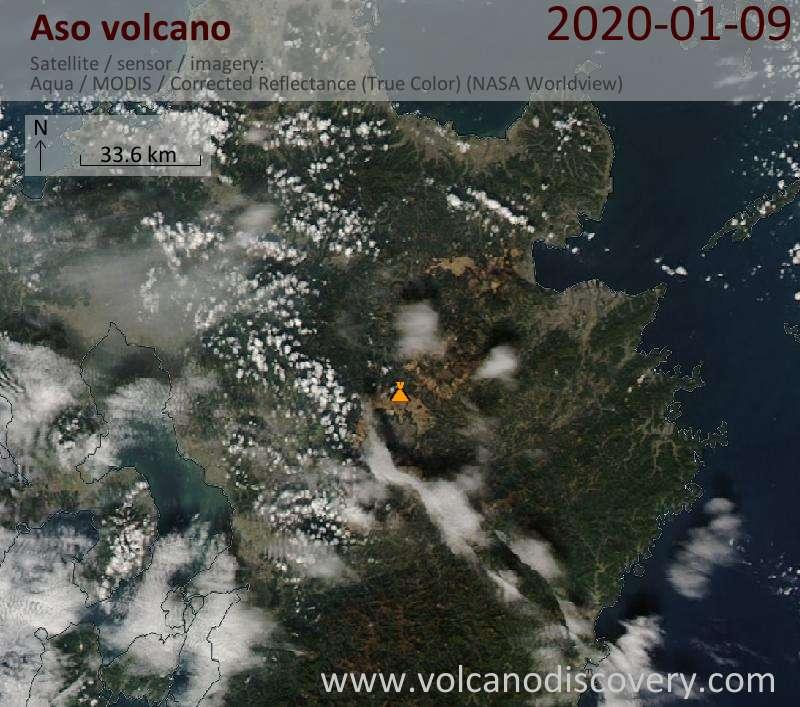 Satellite image of Aso volcano on 10 Jan 2020