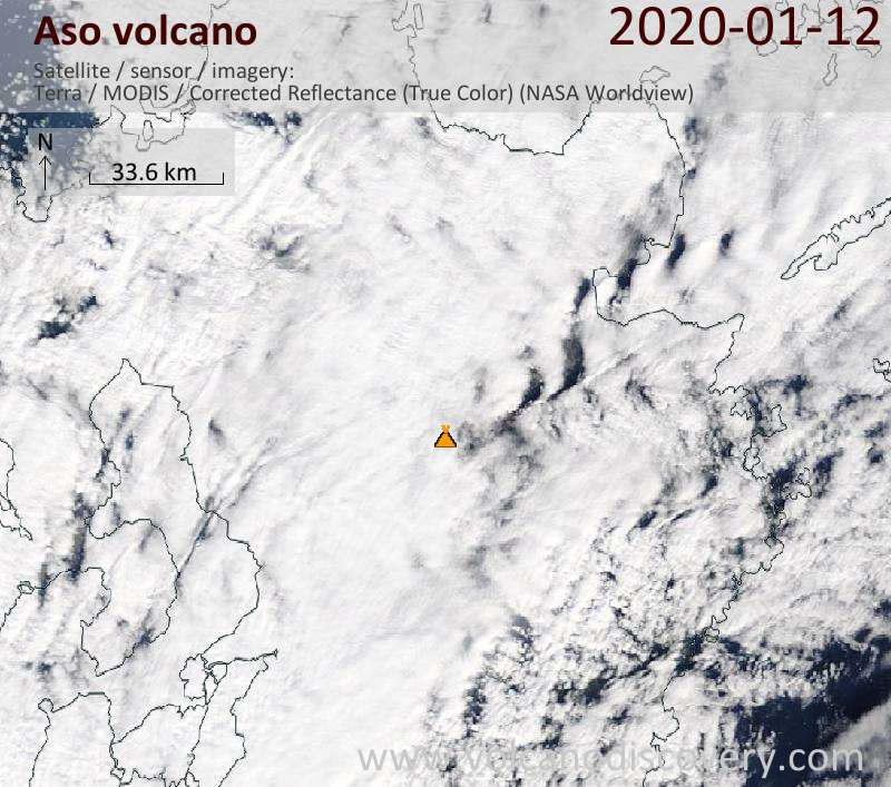 Satellite image of Aso volcano on 12 Jan 2020