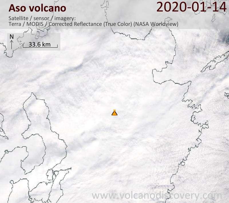 Satellite image of Aso volcano on 14 Jan 2020