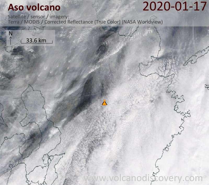 Satellite image of Aso volcano on 17 Jan 2020