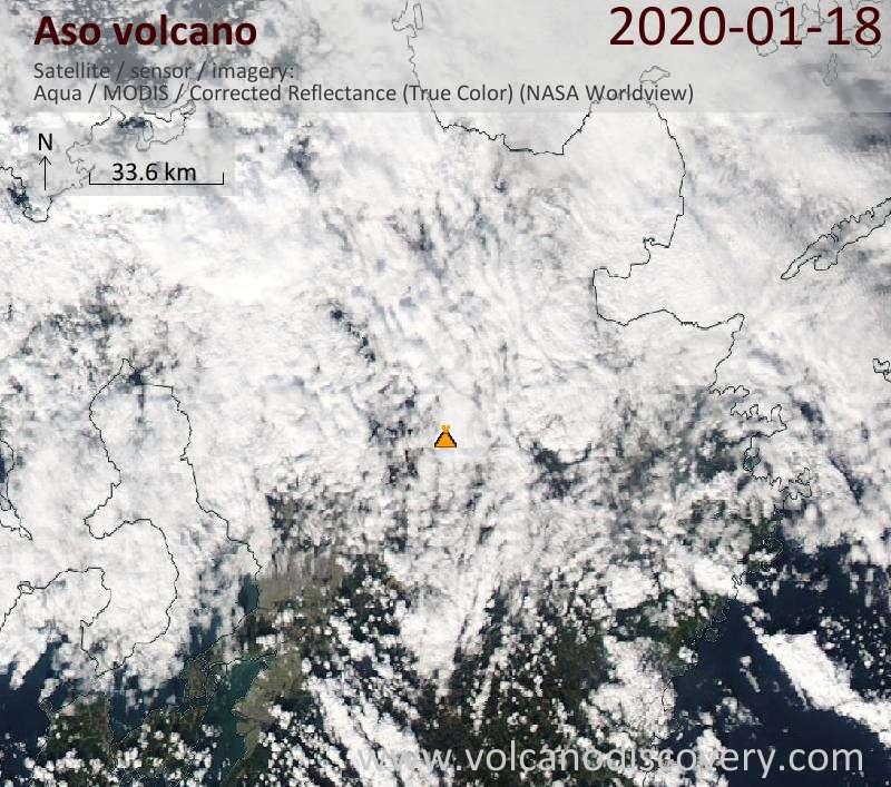 Satellite image of Aso volcano on 18 Jan 2020