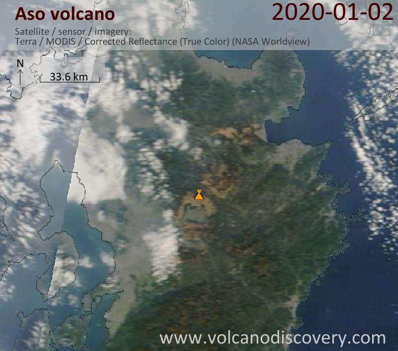 Satellite image of Aso volcano on  2 Jan 2020