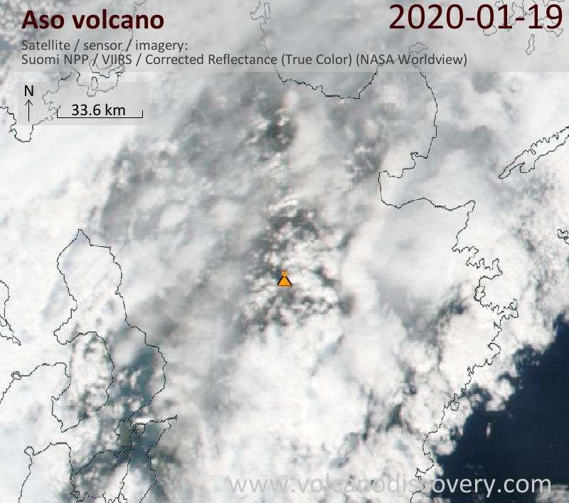 Satellite image of Aso volcano on 20 Jan 2020