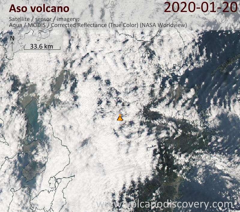 Спутниковое изображение вулкана Aso 21 Jan 2020