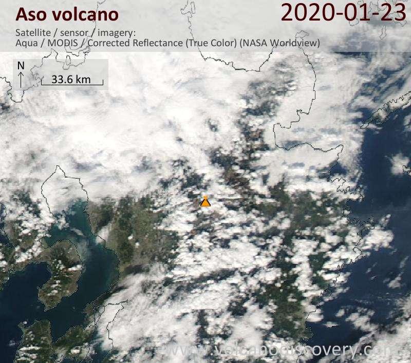 Satellite image of Aso volcano on 24 Jan 2020