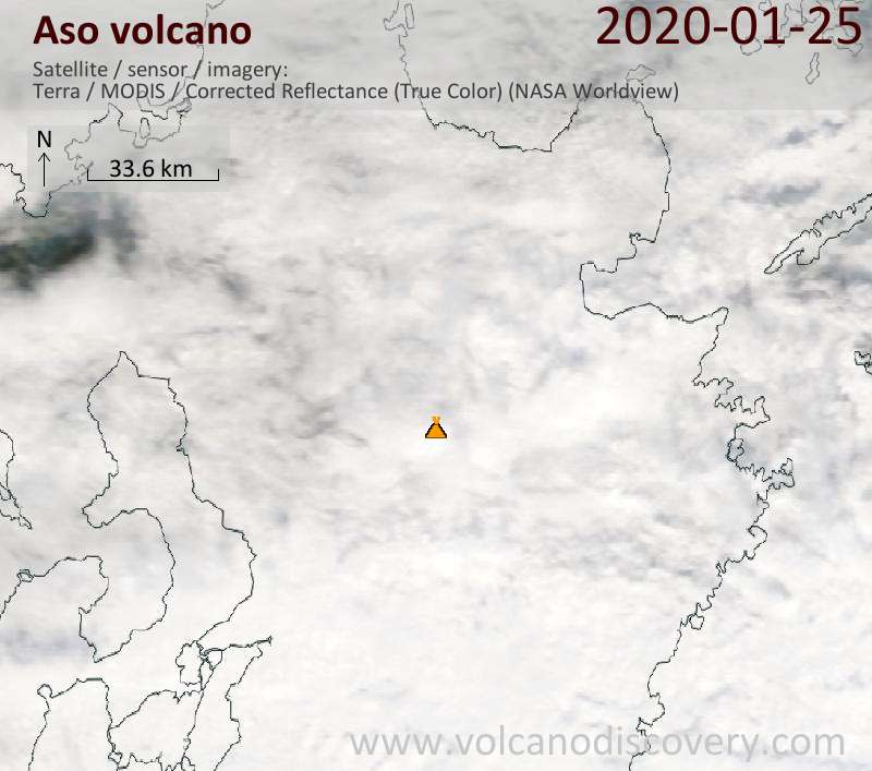 Satellite image of Aso volcano on 25 Jan 2020