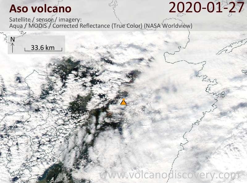 Satellite image of Aso volcano on 27 Jan 2020